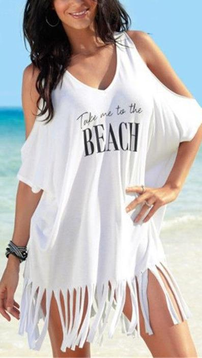 Tassel Off-Shoulder Cover Up