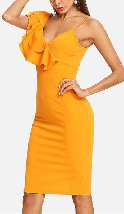 Ginger Ruffle Layered Flounce Trim Split Bodycon Dress