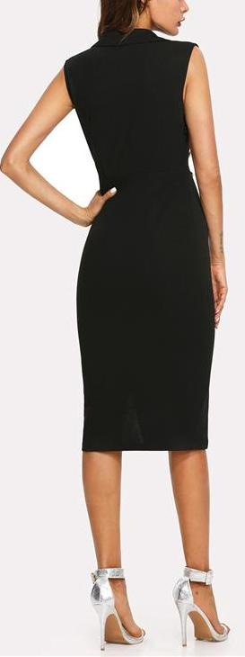 V Neck Double Button Sleeveless Pencil Knee-Length Dress