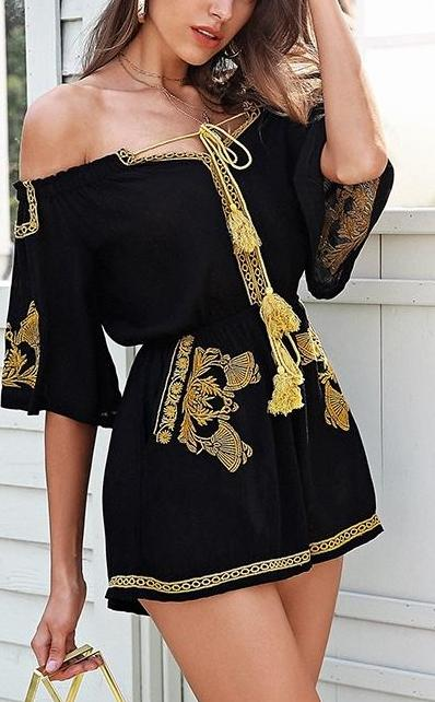 Off Shoulder Embroidery jumpsuit Romper