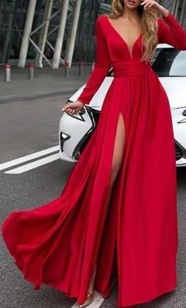 Red High Waist Maxi Dress