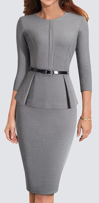 Formal Peplum Office Lady Dress