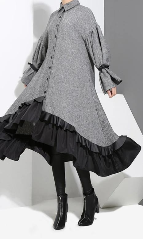 Long Sleeve Bandage Big Hem Irregular Loose Dress
