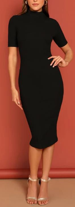 Black Mock Neck Rib-knit Pencil Stretchy Knee Length Bodycon Dress