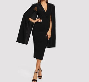Black Cape Sleeve Deep V Neck Shawl Surplice Bodycon Dress