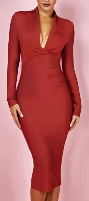 Plunge Neck Draped Women Long Sleeve Dress