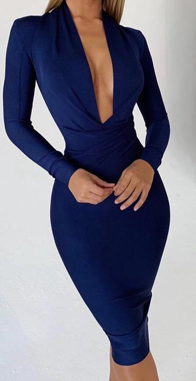 Long Sleeve Winter V Neck Bandage Bodycon Dress