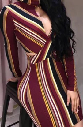 Womens Stripe O-Neck Long Sleeve Bodycon Dress