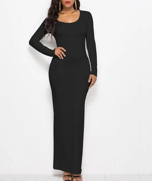 Elegant Elastic Straight Long Sleeve Maxi Dress