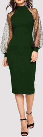 Pencil Dress With Jacquard Contrast Mesh Lantern Sleeve