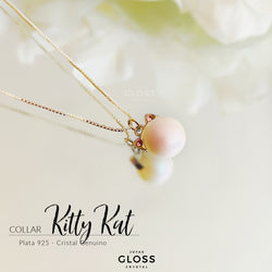 Collar Kitty Kat Plata Cristales Genuino - Gloss Crystal