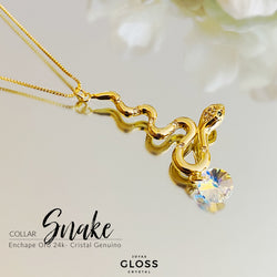 Collar Snake Oro Cristales Genuinos - Gloss Crystal