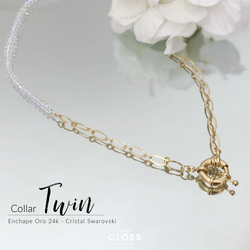 Collar Twin Oro Cristal Genuino - Gloss Crystal