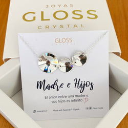 Collar Madre e Hijos Plata 925 Cristal Genuino - Gloss Crystal