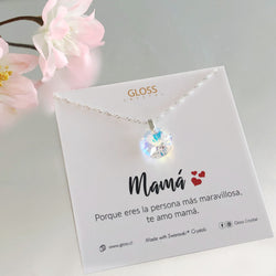 Collar Mamá Luz Plata Cristal Genuino - Gloss Crystal