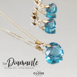 Joyero + Conjunto Diamante Aquamarine Oro Cristal Genuino - Gloss Crystal