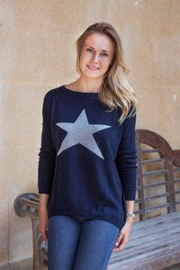 Luella Cashmere Star Jumper Navy/Grey