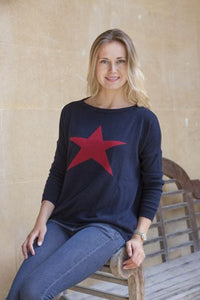 Luella Cashmere Star Jumper Navy/Red