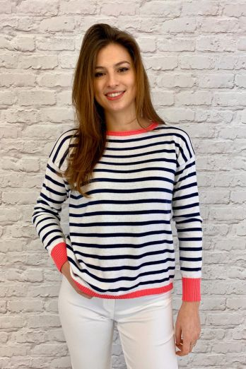 Luella Brittany Cotton Stripe Jumper Navy/White/Pink