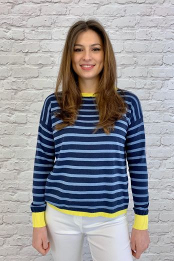 Luella Brittany Cotton Stripe Jumper Navy/Denim/Yellow