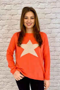 Luella Cashmere Star Jumper Coral/Orange