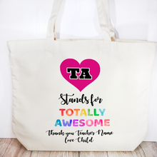 TA means Totally Awesome Personalised Teacher Assistant Gift Tote Bag - Tote Bag - Molly Dolly Crafts