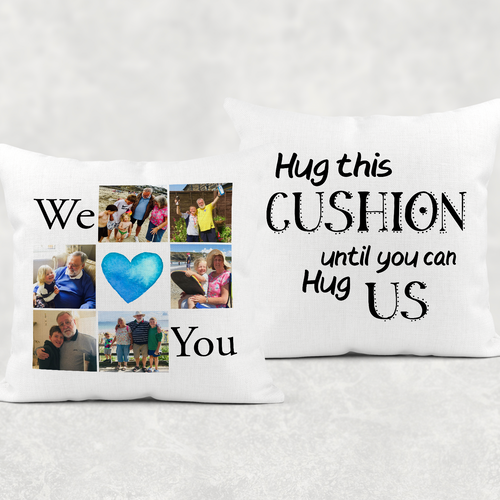 We/I Love You Hug Isolation Comfort Cushion Linen White Canvas