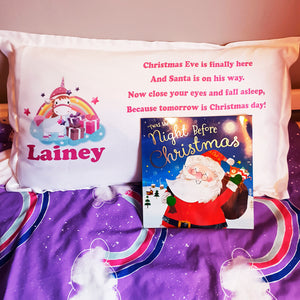 Unicorn Personalised Christmas Eve Pillow Case & Book