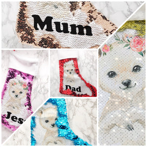 Personalised Polar Bear Fur Topped Sequin Christmas Stocking
