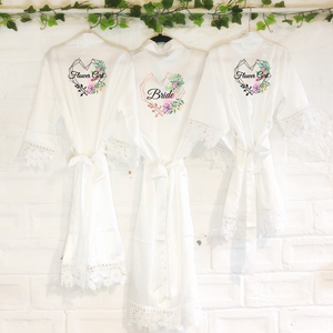 Heart Watercolour Personalised Bride Lace Wedding Dressing Robe -  - Molly Dolly Crafts