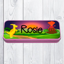 Personalised Printed Dinosaur School Pencil Tin - Pencil Case - Molly Dolly Crafts