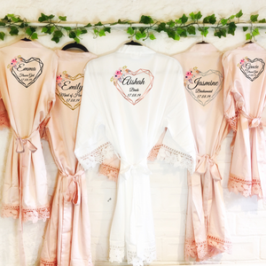 Heart Floral Personalised Bride Lace Wedding Dressing Robe -  - Molly Dolly Crafts