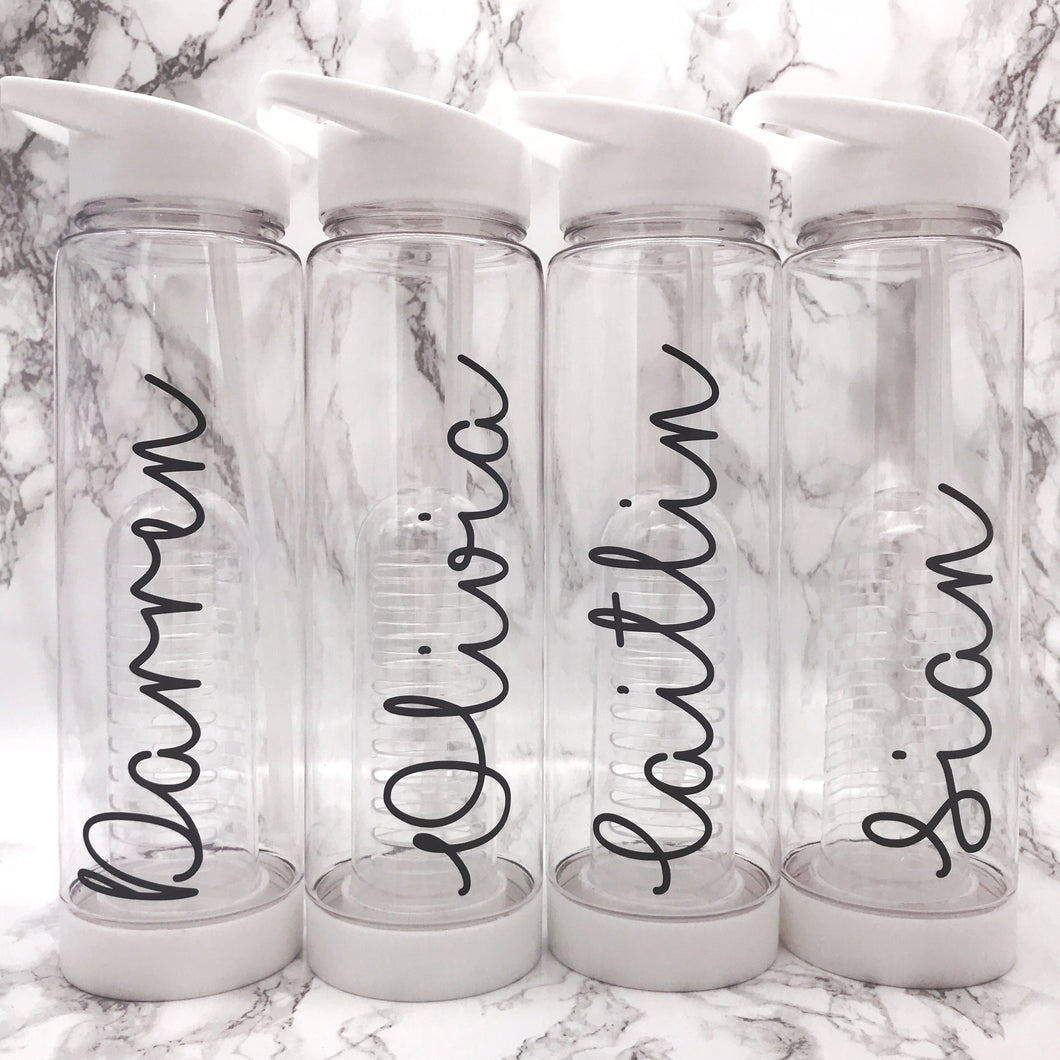 Personalised 750ml White Adult Fruit Infuser Water Bottle - Bottles - Molly Dolly Crafts