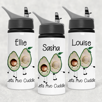 Lets Avo Cuddle Avocado Personalised Straw Water Bottle 650ml