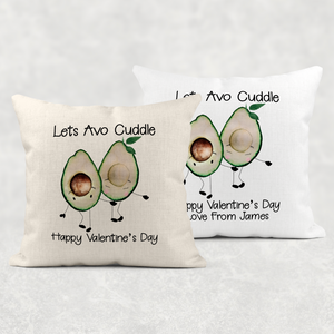 Lets Avo Cuddle Avocado Personalised Valentine's Day Cushion