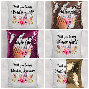 Will you be my Bridesmaid, Maid of Honour, Flower Girl Sequin Reveal Hidden Message Wedding Cushion