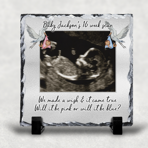 Baby Sonogram Scan Picture Personalised Slate