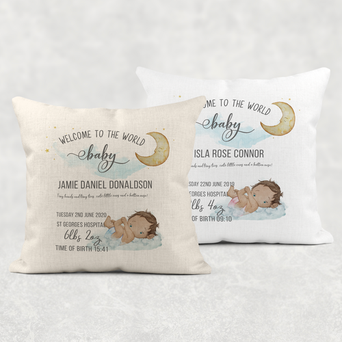 Baby Welcome to the World Birth Stat Personalised Cushion Linen White Canvas