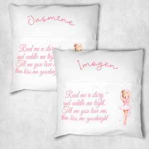 Ballet Personalised Pocket Book Cushion Cover White Canvas