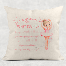 Ballet Dancer Personalised Worry Comfort Cushion Linen White Canvas