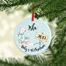 Bear Baby's First Christmas Ceramic Round or Heart Christmas Bauble