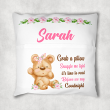 Bear Personalised Pocket Book Cushion Cover White Canvas