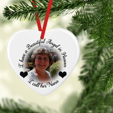 I Have a Beautiful Angel in Heaven Ceramic Round or Heart Shaped Memorial Christmas Bauble