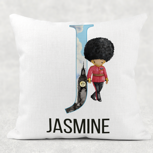 Beefeater Soldier Alphabet Cushion Linen White Canvas
