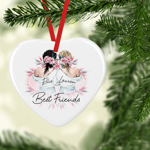 Best Friend Sister Watercolour Personalised Ceramic Round or Heart Christmas Bauble