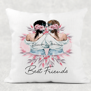 Best Friends Personalised Cushion Linen White Canvas