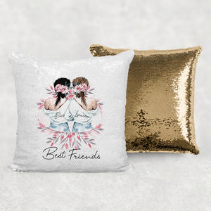 Best Friends Sisters Personalised Mermaid Sequin Cushion