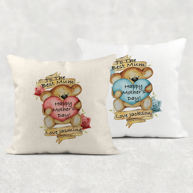 Best Mum Teddy Mother's Day Cushion Linen White Canvas