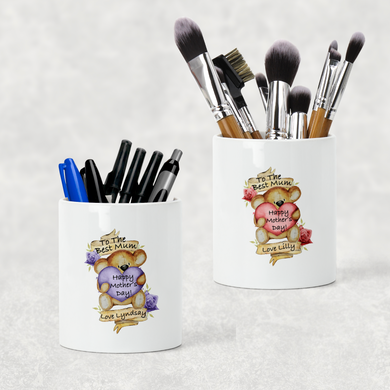Best Mum Teddy Mother's Day Pencil Caddy / Make Up Brush Holder