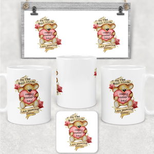 Best Mum Teddy Mother's Day Personalised Mug & Coaster
